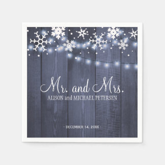 Twinkle lights snowflakes mr and mrs wedding paper napkin