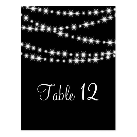 Twinkle Lights Table Number (black) Postcard