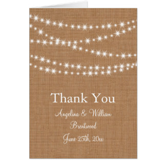 Twinkle Lights Thank You Card on Burlap