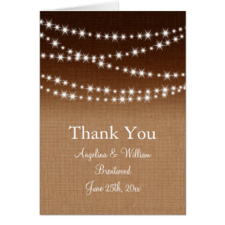 Twinkle Lights Thank You Card on Shaded Burlap