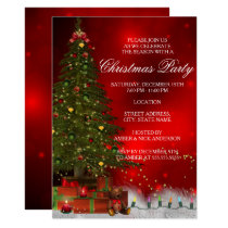 Twinkle Lights Tree Festive Christmas Party Invite