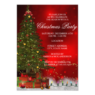 Twinkle Lights Tree Festive Christmas Party Invite at Zazzle