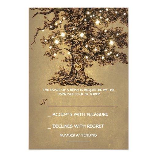 Twinkle Lights Tree Rustic Wedding RSVP card (front side)