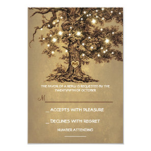 Twinkle Lights Tree Rustic Wedding RSVP card