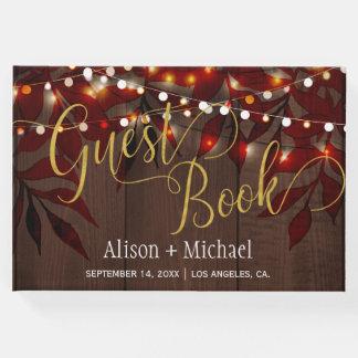 Twinkle lights wedding gold script guest book