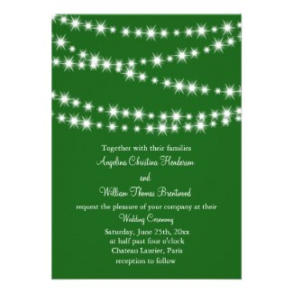 Twinkle Lights Wedding Invitation (green)