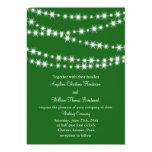 "Twinkle Lights Wedding Invitation (green) 5"" X 7"" Invitation Card"
