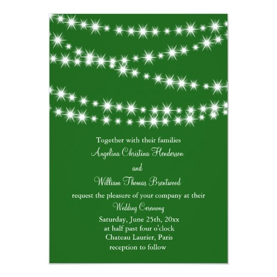Twinkle Lights Wedding Invitation (green)