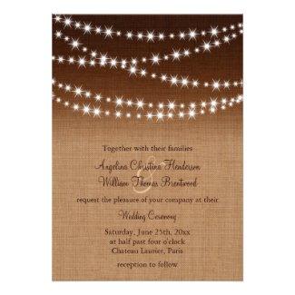 Twinkle Lights Wedding Invitation on Shaded Burlap