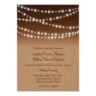 Twinkle Lights Wedding Invitation on Shaded Burlap