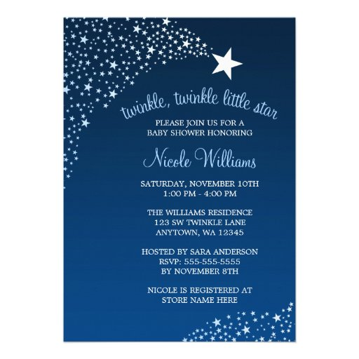 twinkle little shooting star baby shower 5x7 paper invitation card