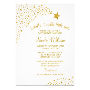 Twinkle Little Shooting Star Faux Gold Baby Shower Invitation