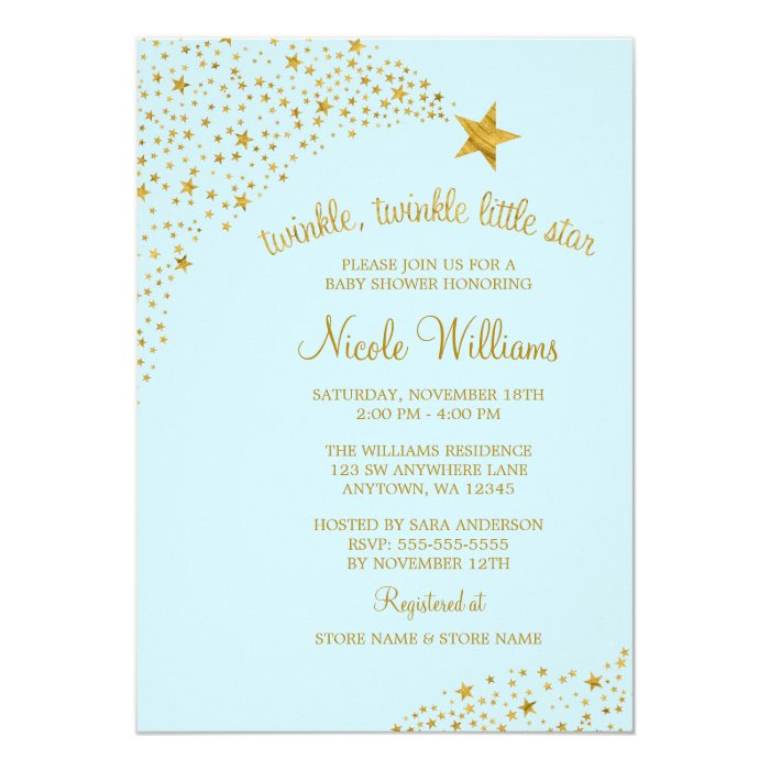 twinkle little shooting star gold blue baby shower card zazzle