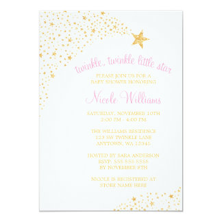 Twinkle Little Shooting Star Gold Pink Baby Shower 5x7 Paper Invitation Card