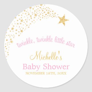 Twinkle Little Shooting Star Gold Pink Baby Shower Classic Round Sticker