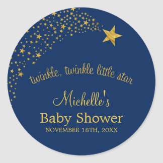 Twinkle Little Shooting Star Navy Gold Baby Shower Classic Round Sticker