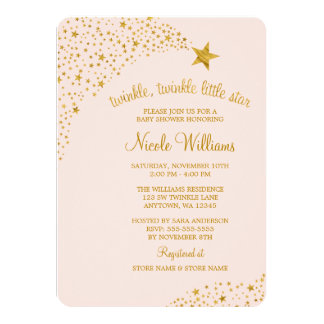 Twinkle Little Shooting Star Pink Gold Baby Shower 4.5x6.25 Paper Invitation Card