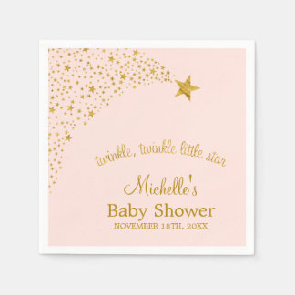Twinkle Little Shooting Star Pink Gold Baby Shower Napkin