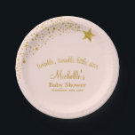 "Twinkle Little Shooting Star Pink Gold Baby Shower Paper Plate<br><div class=""desc"">Trendy pink and gold twinkle twinkle little star baby shower paper plates. Featuring faux gold glitter stars and soft pink. NOT ACTUAL GLITTER</div>"