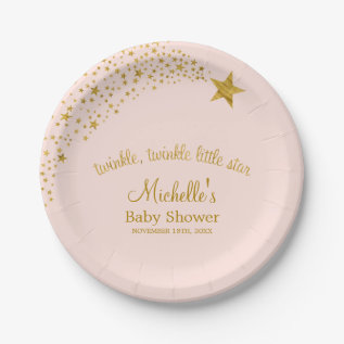 Twinkle Little Shooting Star Pink Gold Baby Shower Paper Plate at Zazzle