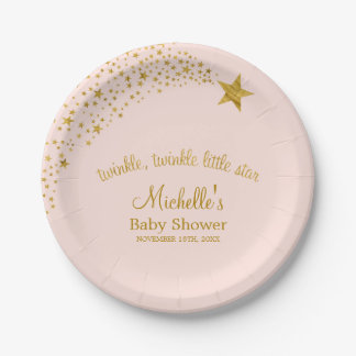 Twinkle Little Shooting Star Pink Gold Baby Shower Paper Plate