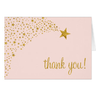 Twinkle Little Shooting Star Pink Gold Thank You Stationery Note Card