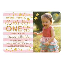 Twinkle Little Star 1st Birthday Photo Invitation