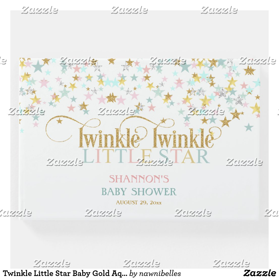 Twinkle Little Star Baby Gold Aqua Pink