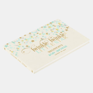 Twinkle Little Star Baby Gold Mint Green Creme Guest Book
