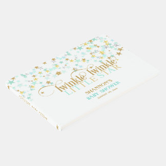 Twinkle Little Star Baby Gold Mint Green Guest Book