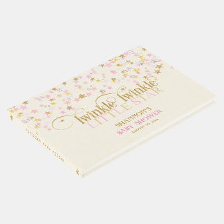 Twinkle Little Star Baby Gold Pink Creme Girl Guest Book