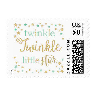 Twinkle Little Star Baby Mint & Gold Postage Stamp