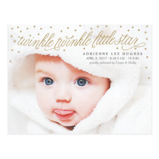 Twinkle Little Star Baby Photo Birth Announcement Postcard