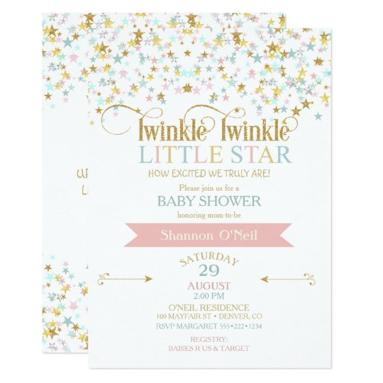 twinkle little star baby shower any color card   zazzle, Baby shower invitations