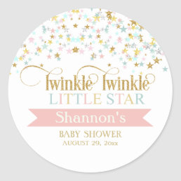 Twinkle Little Star Baby Shower Any Color Classic Round Sticker