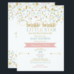"Twinkle Little Star Baby Shower Any Color Invitation<br><div class=""desc"">Twinkle twinkle little star baby shower invitation done in pink,  aqua &amp; gold. The difference in this version is that you can make the background any color you like.</div>"