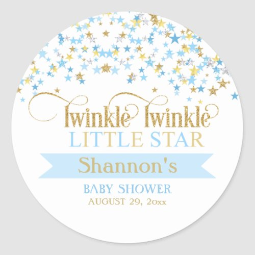 Twinkle Little Star Baby Shower Blue & Gold Classic Round Sticker
