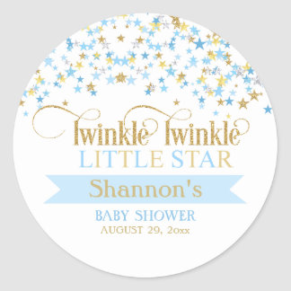 Twinkle Little Star Baby Shower Blue & Gold Classic Round Sticker