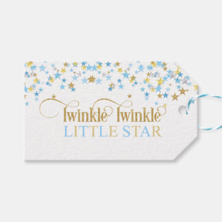 Twinkle Little Star Baby Shower Blue & Gold Gift Tags