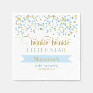Twinkle Little Star Baby Shower Blue & Gold Napkin