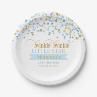 Twinkle Little Star Baby Shower Blue Gold Paper Plate