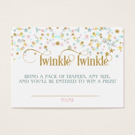 Twinkle Little Star Baby Shower Diaper Raffle Business Card