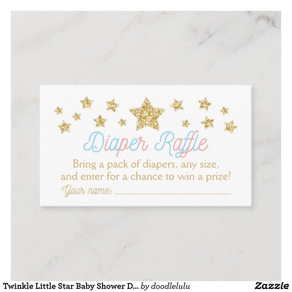 Twinkle Little Star Baby Shower Diaper Raffle Enclosure Card
