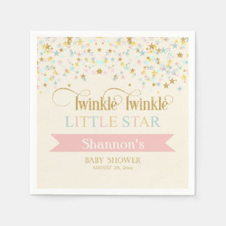 Twinkle Little Star Baby Shower Gold Aqua Pink Paper Napkin