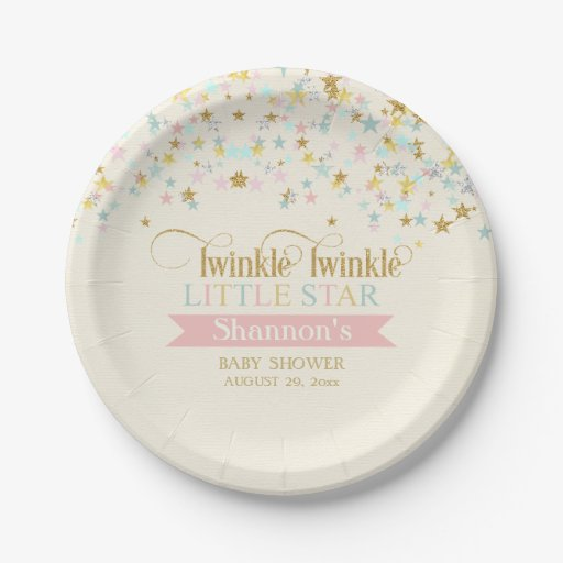 Baby Shower Plate: Twinkle Little Star Baby Shower Gold Aqua Pink Paper Plate