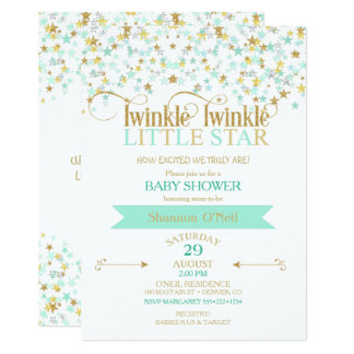 Twinkle Little Star Baby Shower Gold & Mint Card