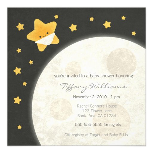 twinkle little star baby shower invitation square invitation