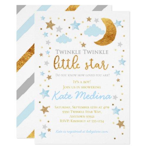 Twinkle Little Star Baby Shower Invitation Boy Blu