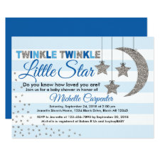 twinkle little star baby shower invitation for boy