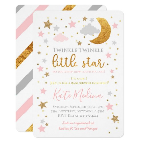 Twinkle Little Star Baby Shower Invitation Girl